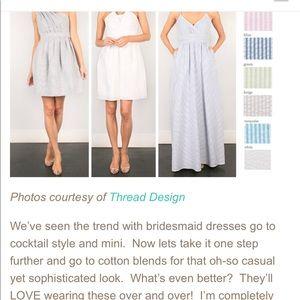 White Seersucker Beach Wedding Bridesmaid Dress